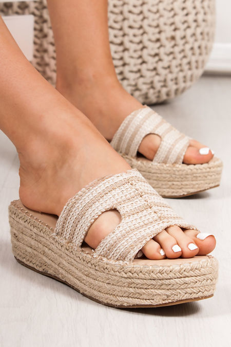 ALLY Woven Beige Cut Out Strap Espadrille Flatforms