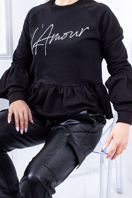 ELIZA Black Amour Slogan Frill Trim Jumper