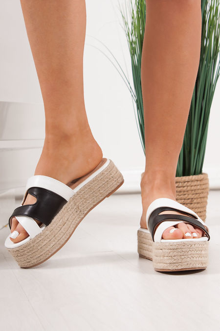 MAE Black & White Cross Strap Espadrille Flatforms