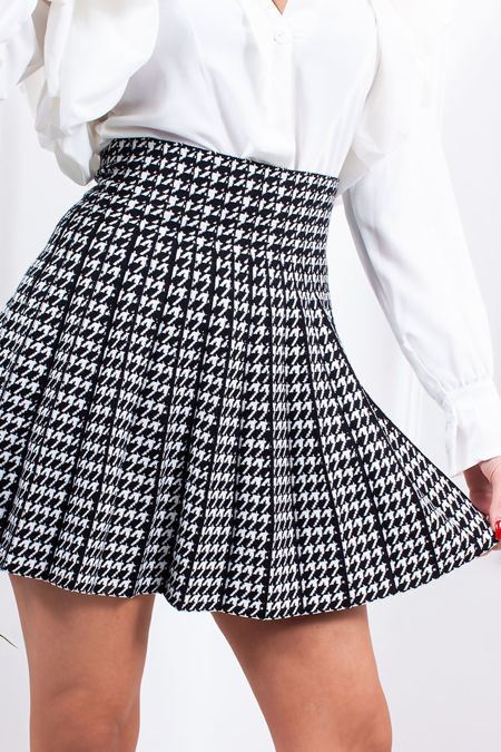 PARKER Black Dogtooth Pleated Skater Skirt