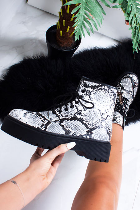 CAMILA Snake Print Chunky Ankle Boots