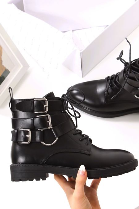 MALIN Black Faux Leather Buckle Biker Boots