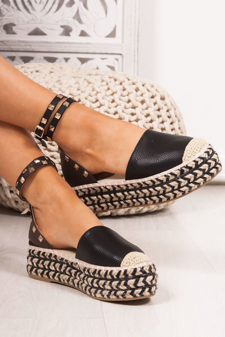 REYA Black Faux Leather Stud Espadrille Flatforms