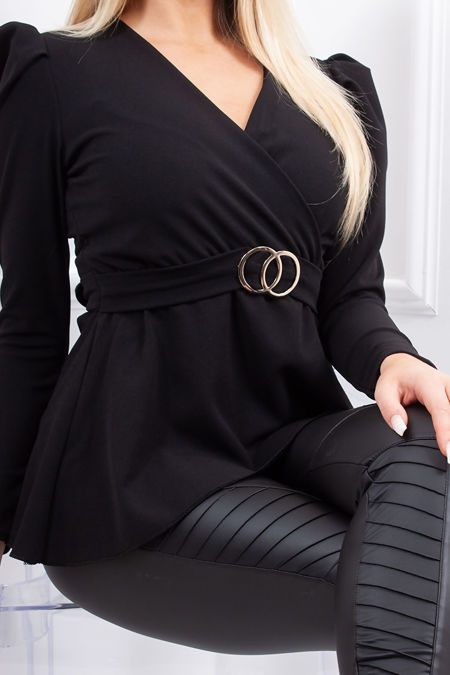 JOLIE Black Ring Detail Belted Tie Back Top