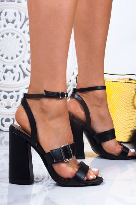 SAVANNAH Black Strappy Block Heel Sandals