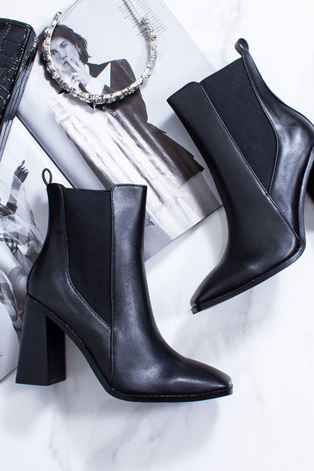 RITA Black Block Heel Ankle Boots