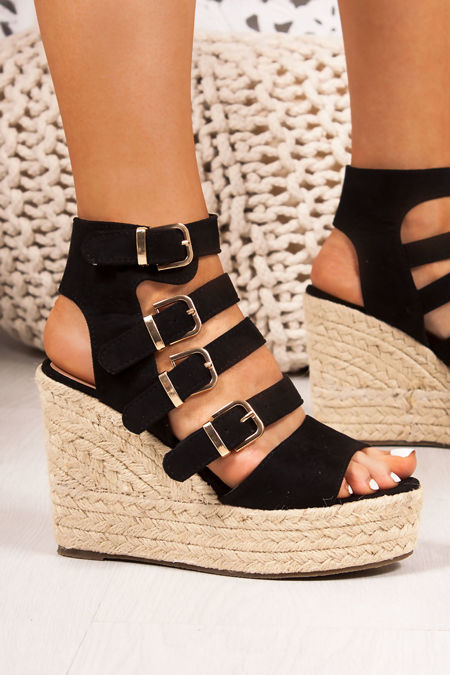 JADE Black Buckle Strap Espadrille Wedges