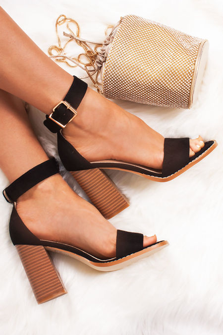 RUBY Black Faux Suede Block Heels