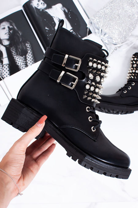 MAURA Black Biker Boots With Silver Spike Detail