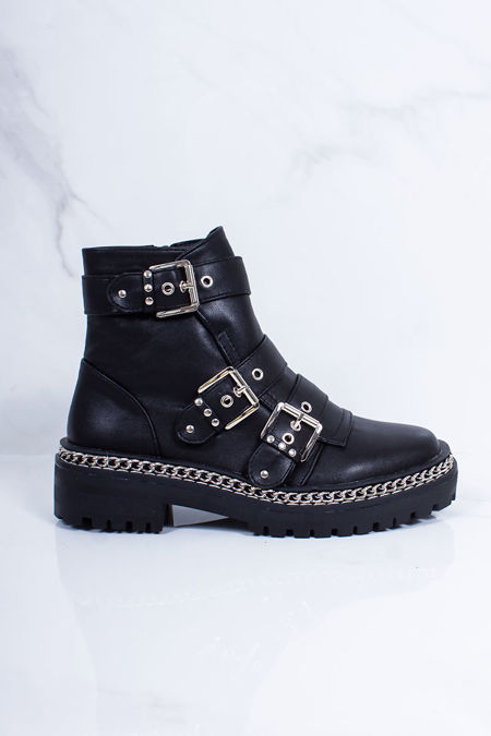 CORAL Black Chain Buckle Strap Boots