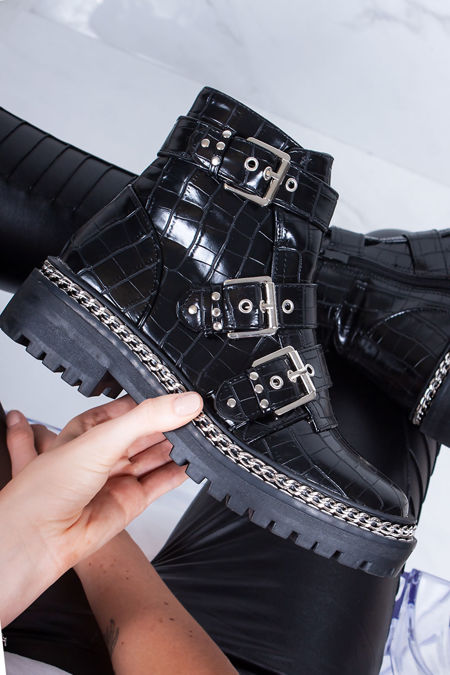 CORAL Black Croc Chain Buckle Strap Boots