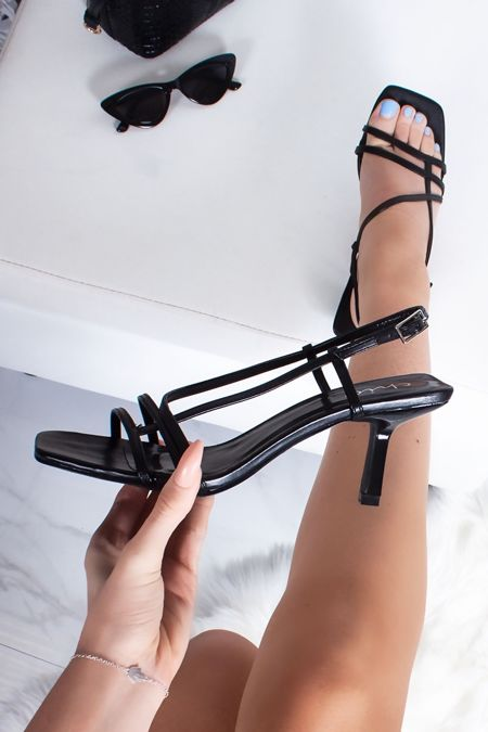 MINA Black Strappy High Heel Sandals