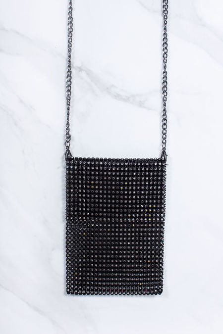 CHARLY Black Diamante Phone Pouch Bag