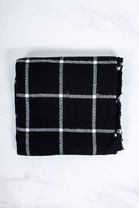 LACEY Black Check Oversized Scarf