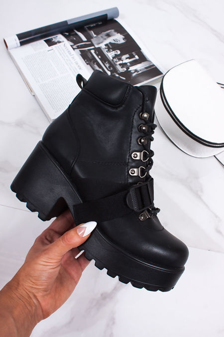 SARA Black Buckle Strap Lace Up Chunky Ankle Boots
