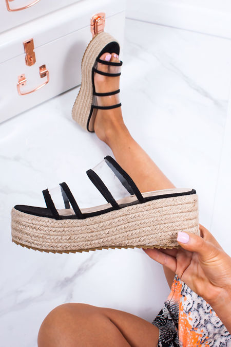 GWEN Black Clear Double Strap Mule Espadrille Flatforms