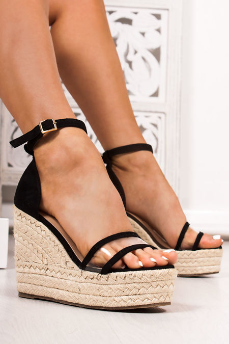 CLEO Black Clear Strap Espadrille Wedges
