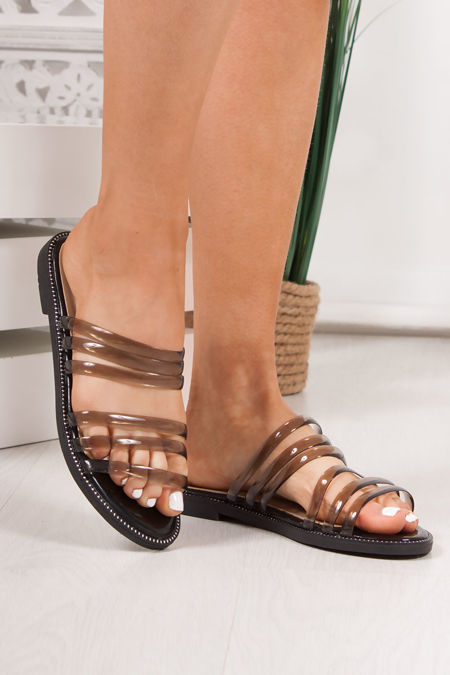CLOVER Black Clear Strap Sandals