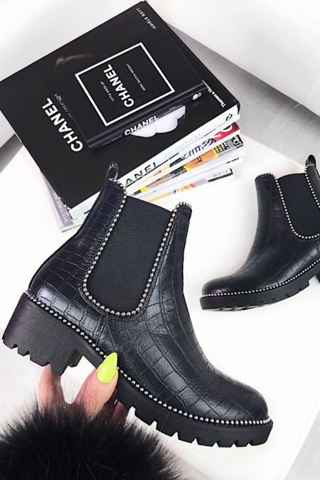 DONNA Faux Leather Croc Chelsea Boots