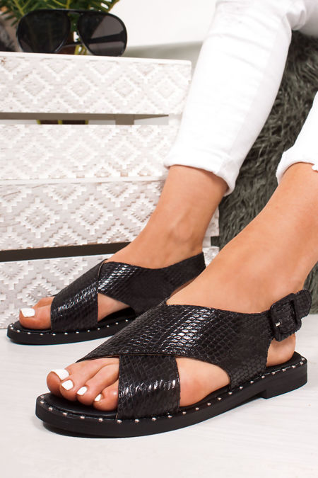 EMMIE Black Snake Print Cross Strap Stud Sandals
