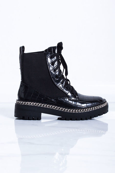 HELENA Black Croc Chain Lace Up Ankle Boots