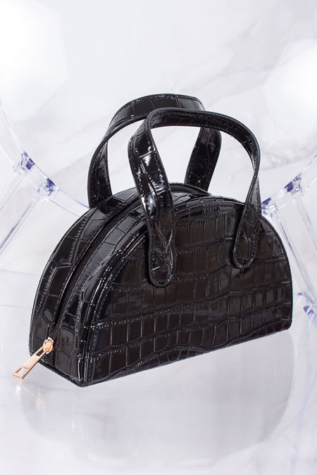 AVERY Black Croc Half Moon Bag