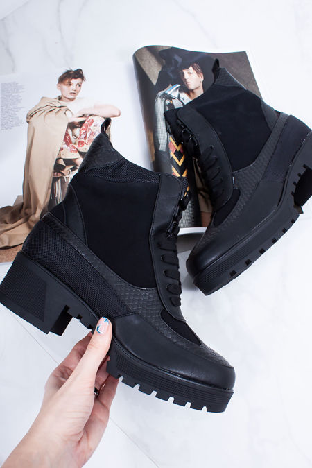 VERITY Black Croc Print Faux Leather Hiker Boots