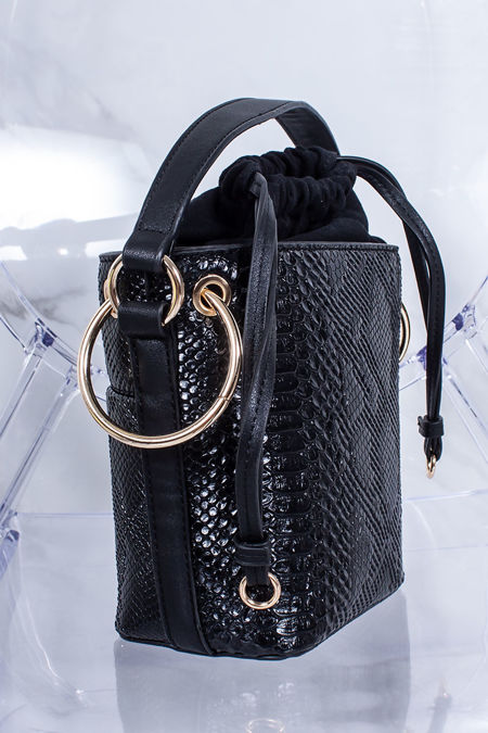 PENNY Black Croc Print Bucket Bag