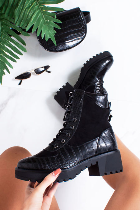 NINA Black Faux Leather Croc Print Hiker Boots