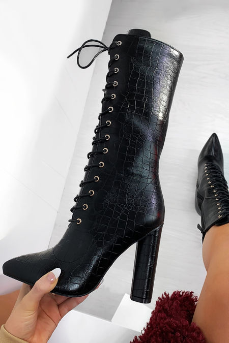 CASANDRA Black Croc Print Lace Up Block Heel Boots
