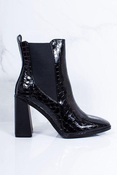 RITA Black Croc Print Block Heel Ankle Boots