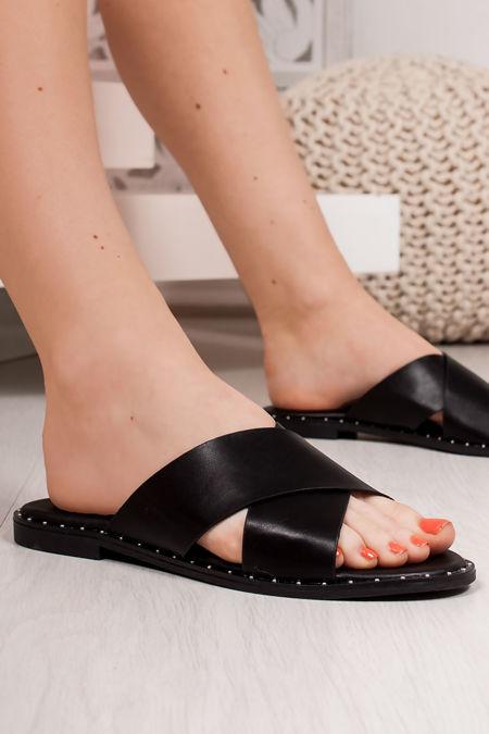 ALEXA Black Cross Strap Stud Mule Sandals