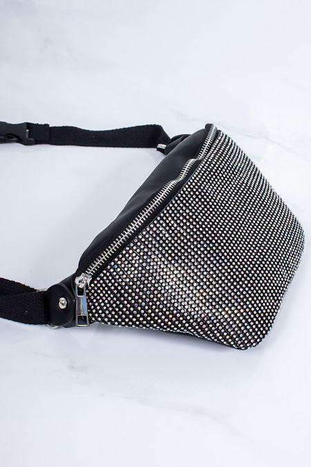 SAMMIE Black Diamante Bum Bag