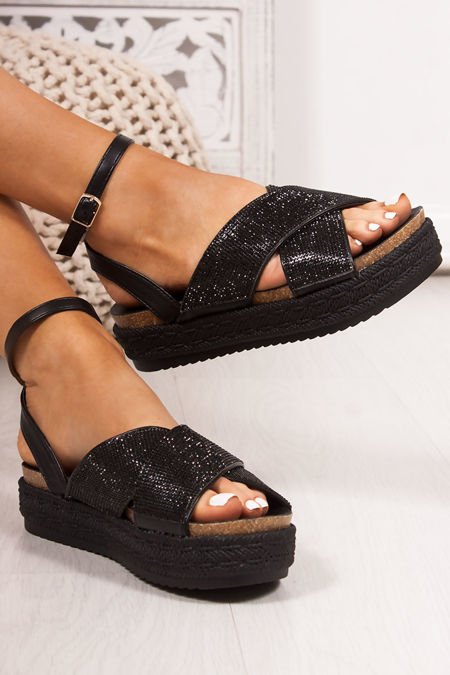 BELLE Black Diamante Cross Strap Espadrille Flatforms