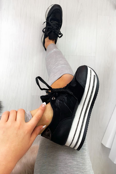 NARLA Black Diamante Velvet Faux Suede Chunky Trainers