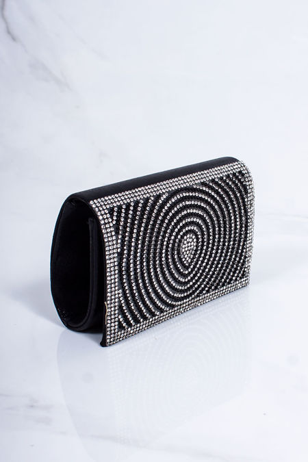 MOLLY Black Diamante Mini Clutch Bag