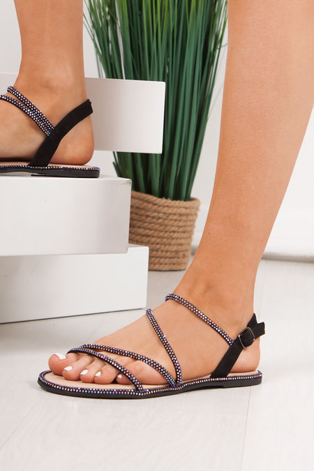SAVANNA Black Diamante Cross Strap Flat Sandals