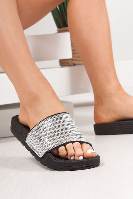 ADELINE Black Diamante Silver Strap Espadrille Sliders