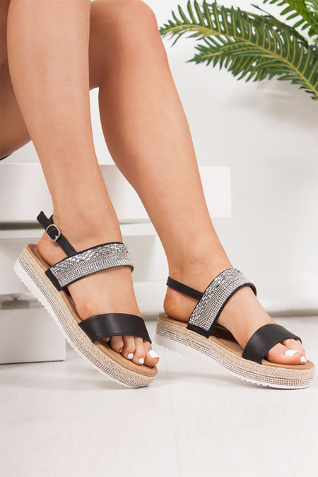 VIENNA Black Diamante Detail Flatform Espadrille Sandals