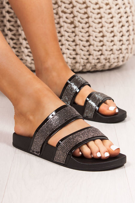MYLA Black Double Strap Diamante Sliders