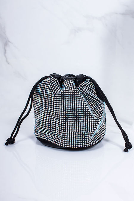HARLEY Black Diamante Stud Bucket Bag