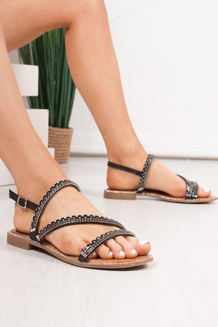 JASMINE Black Diamante Strap Flat Sandals