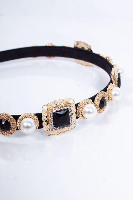 TORY Black Pearl Embellished Headband