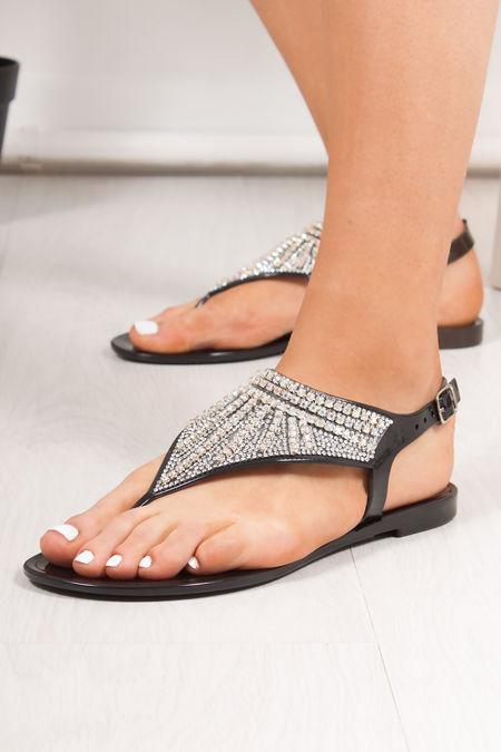 AVERY Black Diamante Embellished Jelly Sandals