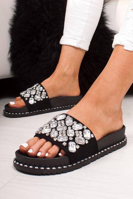 ALICIA Black Jewel Embellished Sliders