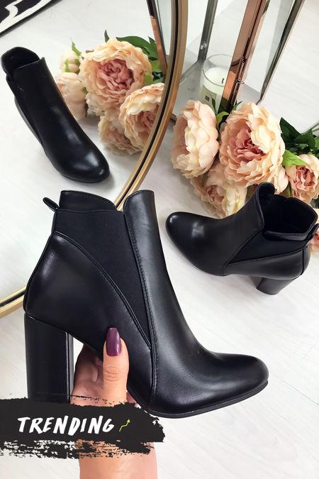 KIAYA Black Block Heel Ankle Boots
