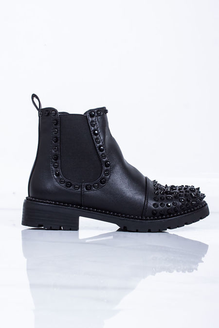 NAOMI Black Stud Ankle Boots With Black Spike Detail