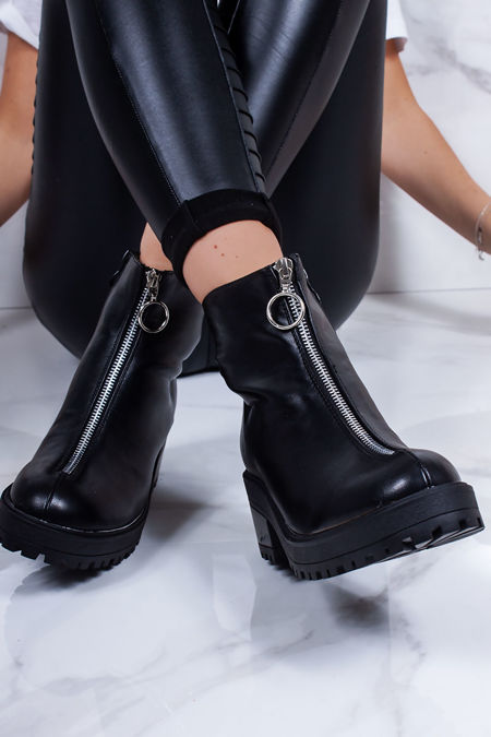 GIANNA Black Zip Front Ankle Boots