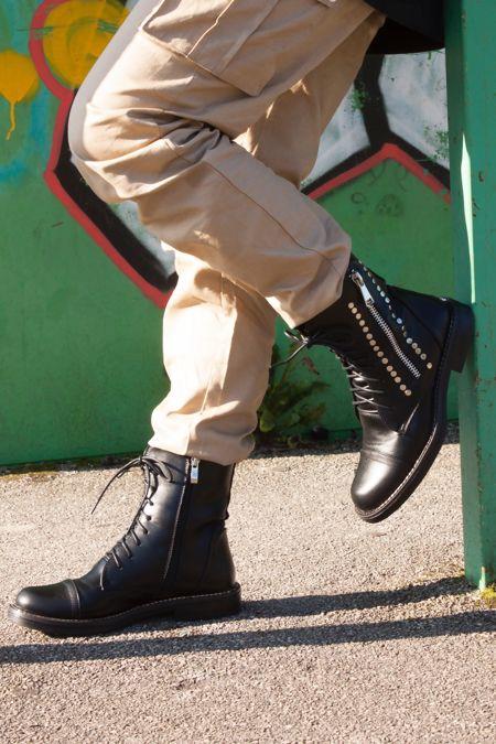 IMOGEN Black Stud Lace Up Flat Biker Boots