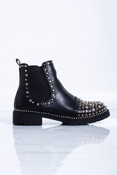 NAOMI Black Stud Ankle Boots
